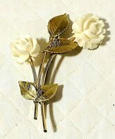 """Vintage Rose Flower Brooch Pin White Plastic Floral Gold Tone Jewelry 2.25"""""""