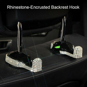 2 PCS Car Back Seat Hidden  Hook  Headrest Hanger with Bling Rhinestone