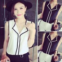 Women Sleeveless V-Neck Summer Office Chiffon Blouse Shirt Casual Tank Top 34CA