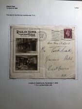 1938 London England Raglan Hotel Advertising Cover To Eastbourne