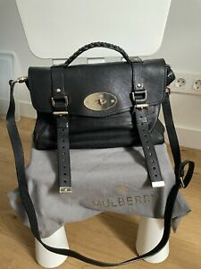 Authentic Mulberry Black Polished Buffalo Leather Regular Alexa Satchel Bag