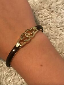 vintage gucci bracelet, 24k gold plated, brown with very light stripes, italy.