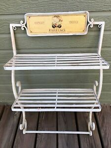 Vintage French Country Metal Wall Hanging Shelf Farmhouse Decor Kitchen Bathroom
