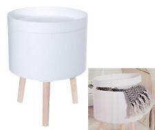 Design Beistelltisch 35cm weiß - Sofatisch + Aufbewahrungsbox - Couchtisch rund