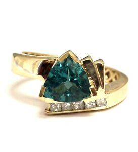 14k yellow gold lab created paraiba tourmaline gemstone .25ct diamond ring 6.8g