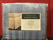 Charter Club Blue DAMASK STRIPE 500 TC 100% Pima Cotton Full Size Bed Skirt $70
