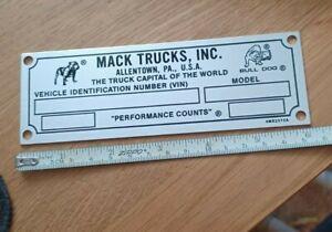 Mack Truck Vin Data Serial Plate