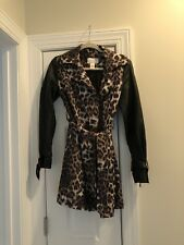 Cache Leopard Print With Faux Leather Sleeves Trench Coat XS SEXY