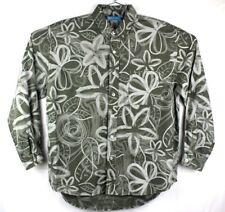 fresh produce shirt mens medium long sleeve button front camp floral gray