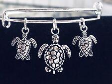 3 Turtle~Tortoise Mom & 2 baby turtles Silver charms Expandable Bangle Bracelet