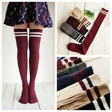 6 Pairs Lot 6 Random Color Women Striped Rib Thigh High Knee High Cotton Socks