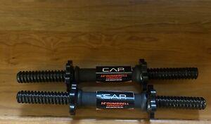 "Pair Of CAP 14"" Dumbbell Handles Bars Spinlock Collars Quality Steel Metal Set"
