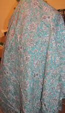 """Fabric Remnant - Indian Style Printed Cotton - Aqua/Black/White - 36""""W x 1.5Yd L"""