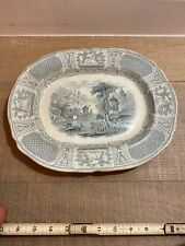 """English Pottery Transfer Gray Ware 1900s Bosphorus 13"""" platter Marked  As-is"""