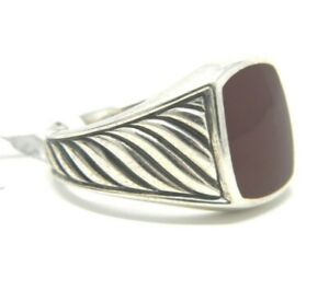 David Yurman Size 12 Mens 14mm Cable Classic Signet Ring Red Agate Silver NWT