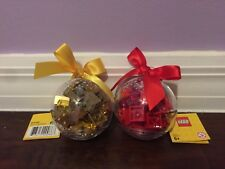 Brand New = Lego Limited Holiday Ornament Red+Gold Bricks Bauble 853344, 853345