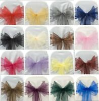 100-50pcs Organza Chair Cover Sashes Bow for Party Events Wedding Banquet Decor
