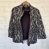 Talbots Women's Size 12 Black/White Damask Cotton 3/4 Slv Career Jacket Blazer