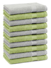 Betz Lot de 10 serviettes débarbouillettes Premium vert pomme & gris argenté