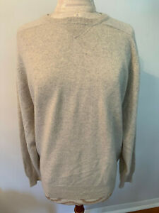 Light Gray 100% Cashmere Knit Long Sleeve Round Neck Sweater Size XL