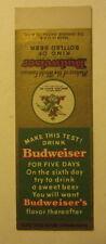 Old Vintage - BUDWEISER BEER Sample Matchcover - Ben Keith TEXAS Distributor