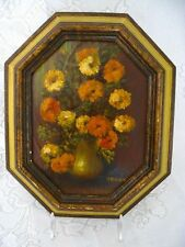 Antique Oil Painting - Signed - Flowers in Vase - Octagon Frame