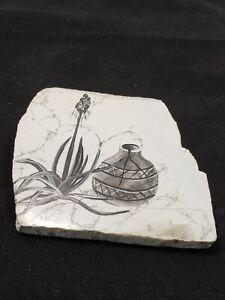 Joyce Hutchings Mixed Media Painting White Stone Slab Undated Signed Cacti