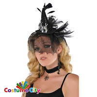 Adult Womens Mini Witch Hat Headband Halloween Fancy Dress Costume Accessory
