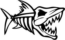 "FISH SKELETON SPORTSMAN Vinyl Decal Sticker-6"" Wide White Color"