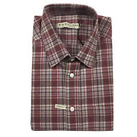 RM Williams Mens Hervey Short Sleeve Shirt XL Burgundy Red Check Plaid NEW
