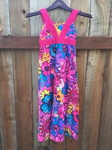 🦄 Justice NWT Girls Size 7 Long Dress Sleeveless Colorful 100% Cotton Cute