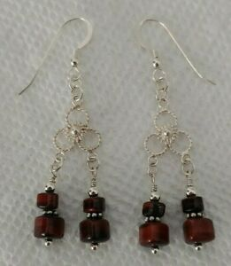 Red Tiger's Eye (Dyed) Gemstone Dangle Earrings Sterling Silver Jewelry Gifts