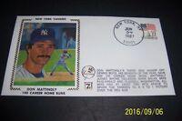 1987 New York Yankees DON MATTINGLY 100th Career HOMERUN Silk First Day Cover