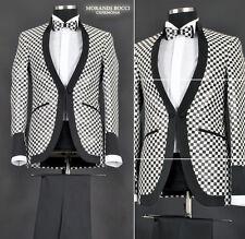*400* 4-teiliger extravaganter Designer Herrenanzug in Schwarz Weiß Gr. 46