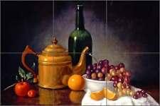 Ceramic Tile Mural Backsplash Poole Grapes Wine Kitchen Art FPA023