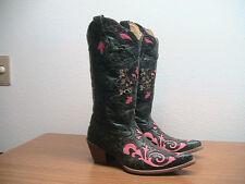 Womens 7 M CORRAL Vintage Black/Pink Lizard Inlay Western Cowboy Boots, $269