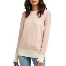 DKNY NEW Women's Pink/white Colorblocked Long Sleeve Crewneck Sweater Top M TEDO