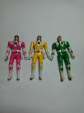 Lot of 3 Mighty Morphin Power Rangers Action Figure 1993 Pink, Yellow, & Green