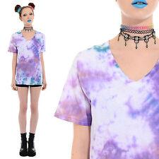 Vtg 90s TIE DYE Pastel T-Shirt Top Seapunk Soft Grunge Festival Club-Kid Rave S