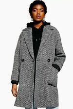 Topshop Black And White Herringbone Coat Last Size S
