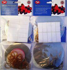 Tala Jam Pot Covers CLEAR 1lb 2lb Jar Preserves Chutney Pickle Label Wax Seal