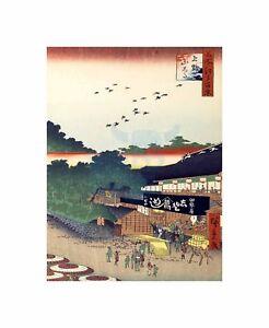 Vintage Painting Japanese Woodblock Market Art Canvas Print