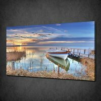 BEAUTIFUL LAKE BOAT SUNSET MODERN CANVAS WALL ART PRINT PICTURE READY TO HANG