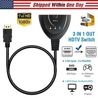 1080P 3 Port HDMI Splitter Cable Switch Switcher HUB Adapter for HDTV PS4 Xbox