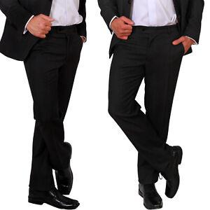 Herren Büro Hose Klassisch Schwarz Anzughose Bundfaltenhose Lang Business Neu
