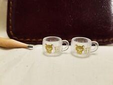 U156 Dollhouse 2pcs of clear glass tea cup gold bear logo Miniature re-ment 1:12
