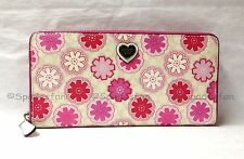 Coach 50672 Floral Print Accordion Zip Around Wallet WHITE Pink MultiColor NWT