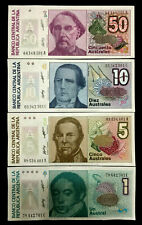 Argentina 50,10,5,1 Austral 1986 Banknote World Paper Money UNC Currency Bill