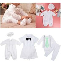 Newborn Baby Boy Gentle Outfits Romper Birthday Formal Baptism Christening Suit