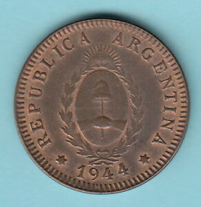 ARGENTINA 1944 2 centavos -KM#38 Coat of Arms-R1081-Bronze- uncirculated